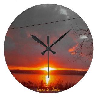 Sunset Óbidos Lagoon Relógios De Pendurar