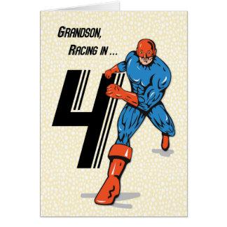 Super-herói do aniversário do neto 4o cartão comemorativo