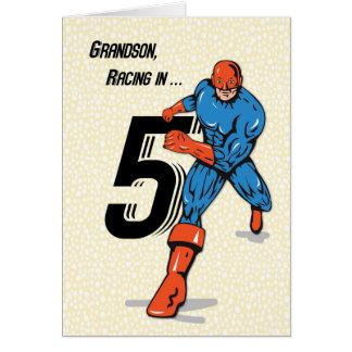 Super-herói do aniversário do neto 5o cartão comemorativo