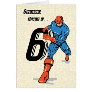 Super-herói do aniversário do neto 6o cartão comemorativo