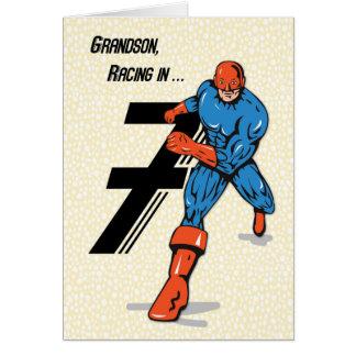 Super-herói do aniversário do neto 7o cartão comemorativo