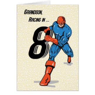 Super-herói do aniversário do neto 8o cartão comemorativo