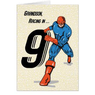 Super-herói do aniversário do neto 9o cartão comemorativo