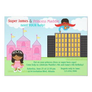 Super-herói e festa de aniversário da princesa convite 12.7 x 17.78cm