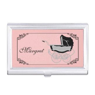 Suporte de cartão de visita cor-de-rosa e preto ch