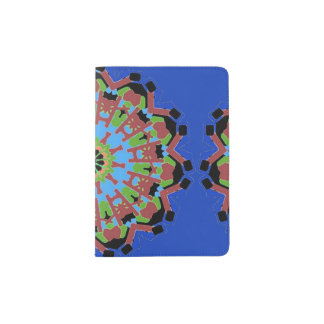 Suporte do passaporte com a mandala no fundo azul capa para passaporte