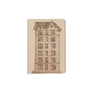Suporte do passaporte com o desenho da construção capa para passaporte