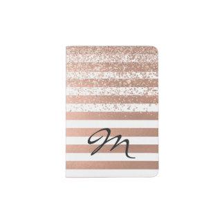 Suporte listrado do passaporte do ouro cor-de-rosa capa para passaporte
