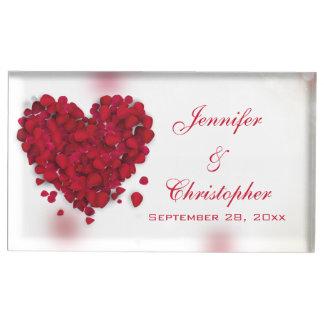 Suporte Para Cartao De Mesa Casamento do coração do amor das pétalas de rosa