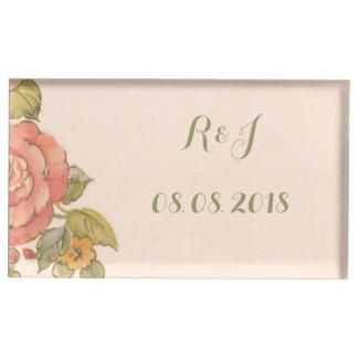 Suporte Para Cartão De Mesa casamento do primavera das flores da tipografia do