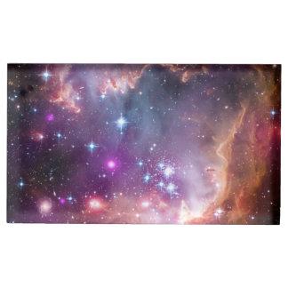 Suporte Para Cartao De Mesa Nebulosa galácticas do roxo do espaço
