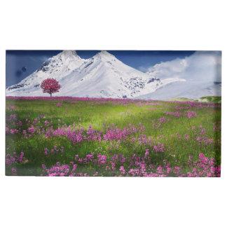Suporte Para Cartão De Mesa Paisagem roxa das flores da grama nevado das