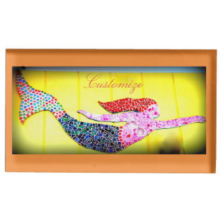 Suporte Para Cartao De Mesa sereia cor-de-rosa do mosaico personalizada