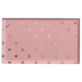 Suporte Para Cartao De Mesa teste padrão de bolinhas cor-de-rosa do ouro do