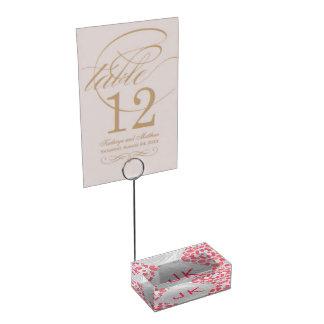 Suporte Para Cartões De Mesa Cor-de-rosa Dalmatian e branco com monograma