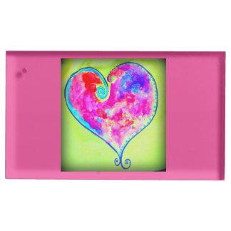 Suporte Para Cartoes De Mesa coração swirly cor-de-rosa