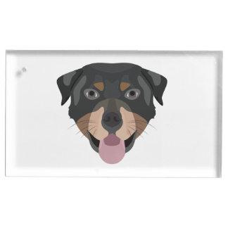 Suporte Para Cartoes De Mesas A ilustração persegue a cara Rottweiler