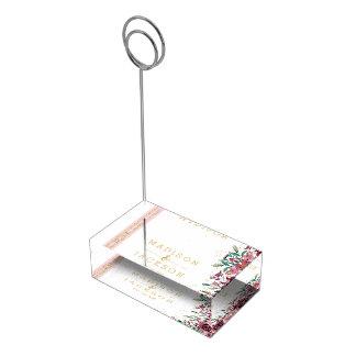 Suporte Para Cartões De Mesas O chique cora listras das flores & monograma do