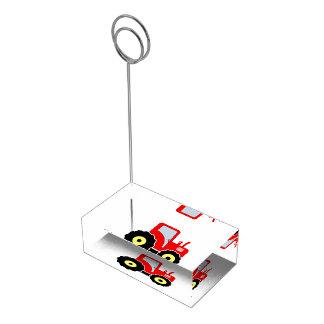 Suporte Para Cartoes De Mesas Trator vermelho do brinquedo