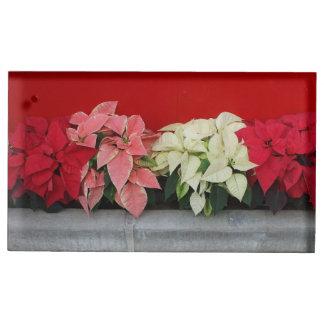 Suportes Para Cartao De Mesa Flores de Pointsettia do Natal