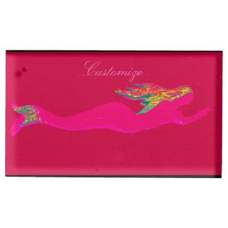 Suportes Para Cartão De Mesa natação cor-de-rosa da sereia