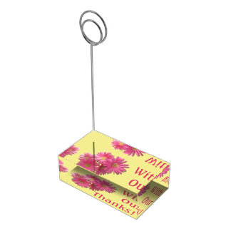 Suportes Para Cartão De Mesa Titular do cartão da mesa - margaridas cor-de-rosa