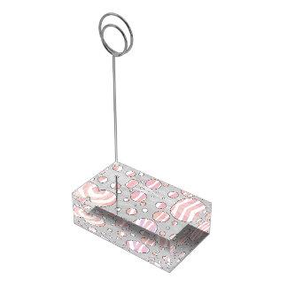 Suportes Para Cartão De Mesa Zebra cor-de-rosa e branca das bolinhas