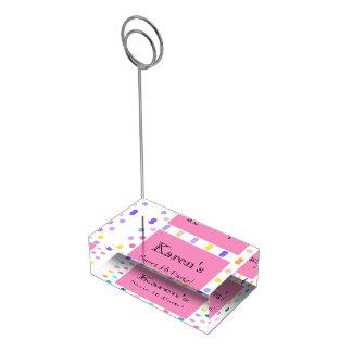 Suportes Para Cartões De Mesa Titular do cartão cor-de-rosa da mesa dos confetes