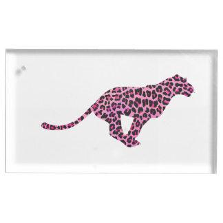 Suportes Para Cartoes De Mesas Leopardo cor-de-rosa e preto da silhueta