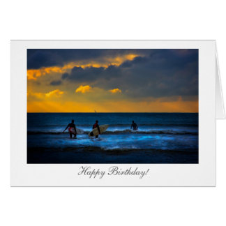 Surfar no por do sol - feliz aniversario cartoes