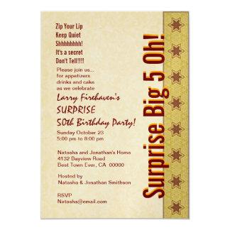 SURPREENDA as 50th estrelas B383 do vermelho do Convite 12.7 X 17.78cm
