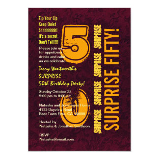 SURPREENDA o 50th ouro moderno E003 de Borgonha do Convite 12.7 X 17.78cm