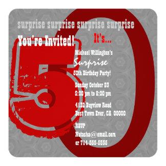 SURPREENDA prata do aniversário do Grunge a 50th e Convite Quadrado 13.35 X 13.35cm