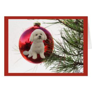 Suspensão da bola do cartão de Natal de Bichon
