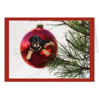 Suspensão da bola do cartão de Natal de Rottweiler