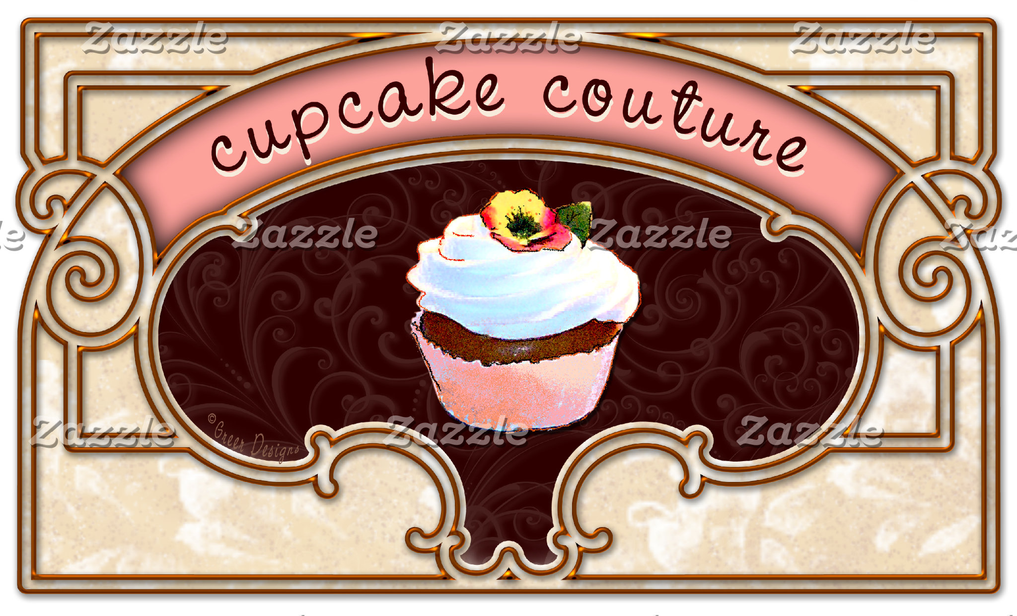 Cupcake Couture Pink Banner Logo Sign
