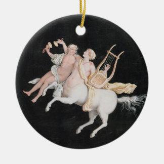 T31466 uma música fêmea do fazer do centauro e do ornamento de cerâmica redondo
