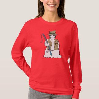 T 2 do boneco de neve do pescador camisetas
