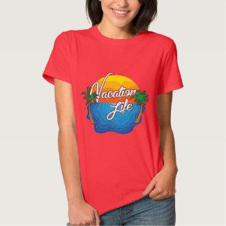 T completo do logotipo da vida das férias das t-shirt