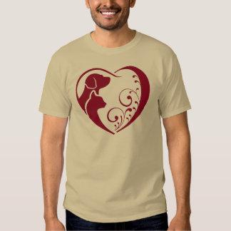 T do coração do gato do cão tshirts