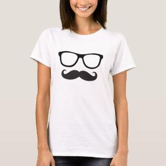 T do hipster do bigode das mulheres camisetas