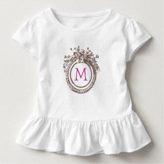 T do plissado da criança do monograma da letra M Tshirts