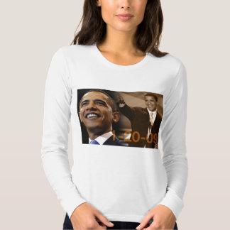 T longo Barack Obama 1-20-09 da luva das senhoras T-shirt