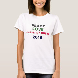 T-shirt 2016 de CHRISTIE/RUBIO do amor da paz