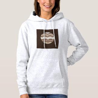 T-shirt A camisola encapuçado das mulheres bege redondas