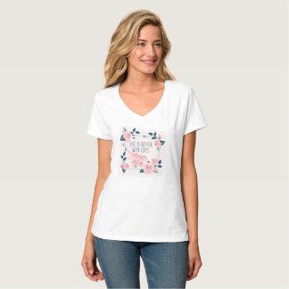 T-shirt A vida é melhor com gatos