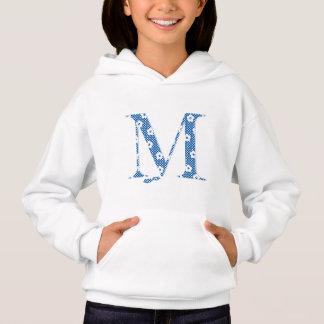 T-shirt alfabeto M da flor (azul e pontos)