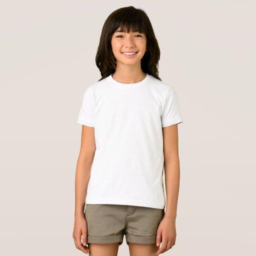 Camiseta infantil feminina de jersey fina American Apparel, Branco