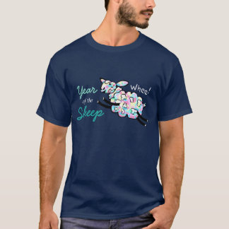 T-shirt Ano de carneiros felizes coloridos do pulo dos