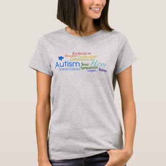 T-shirt Arte da palavra da consciência do autismo